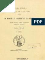 Pârvan 1914, In Memoriam Constantin Erbiceanu