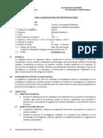SÍLABO DEL CURSO DE INVESTIGACIÓN I