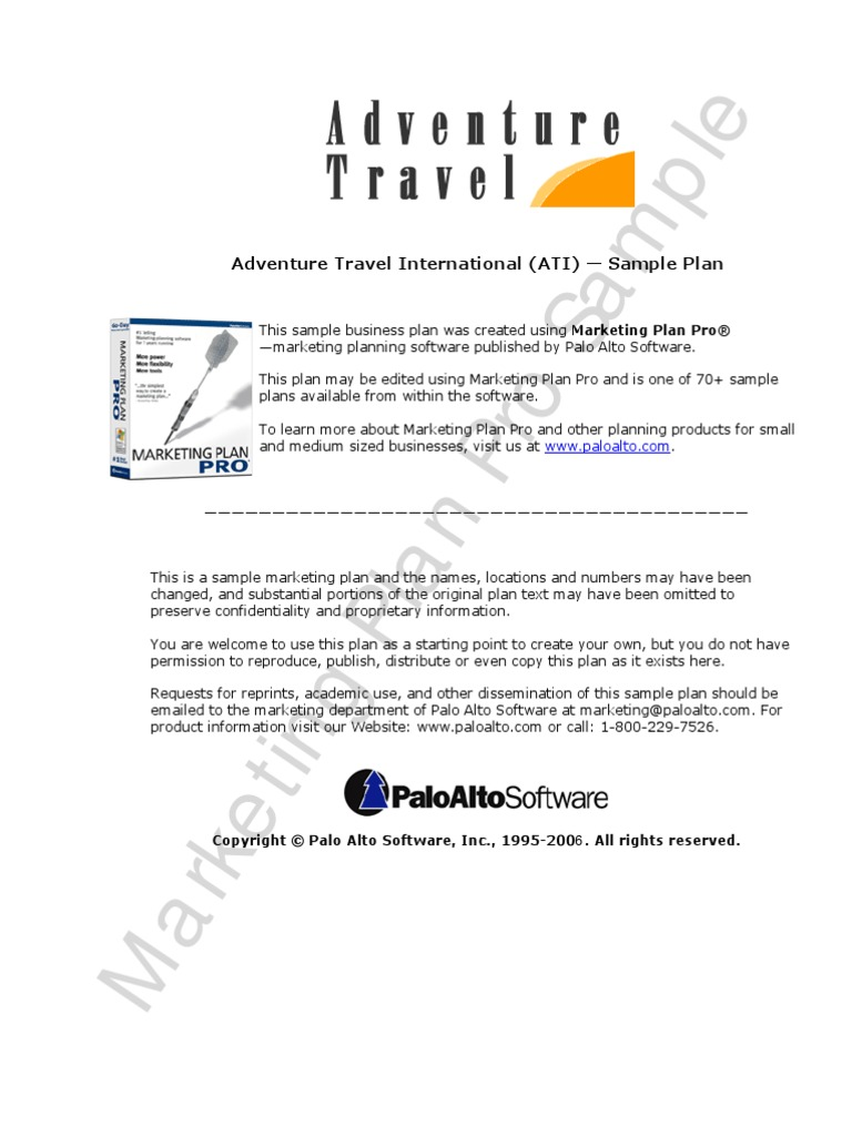 Adventure Travel Sample Marketing Plan | Marketing | Tourism