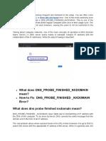DNS Probe Finished Nxdomain Error