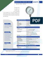 MP01 All Stainless Steel Pressure Gauge - Bourdon Tube, ≥ DN100