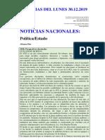 NOTICIAS DEL LUNES 30.12.2019