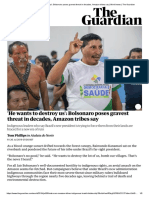 He wants to destroy us'_ Bolsonaro poses gravest threat in decades, Amazon tribes say