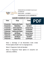 Culto Nov y Dic 2019 Fundo El Carmen