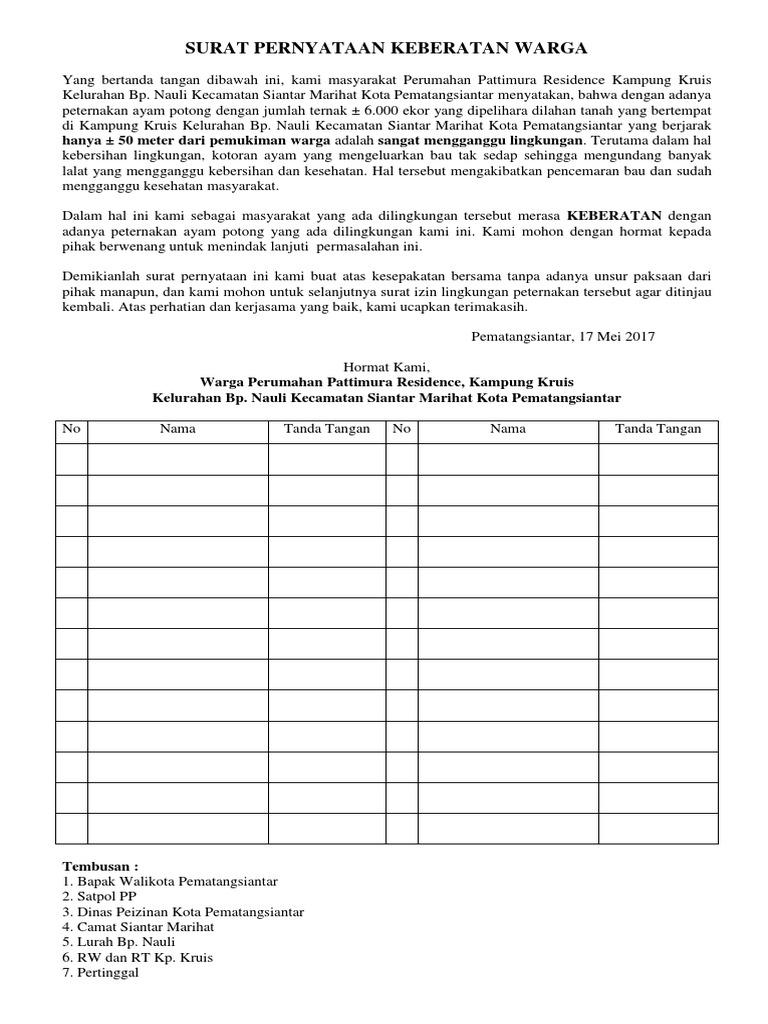 Contoh Surat Izin Lingkungan