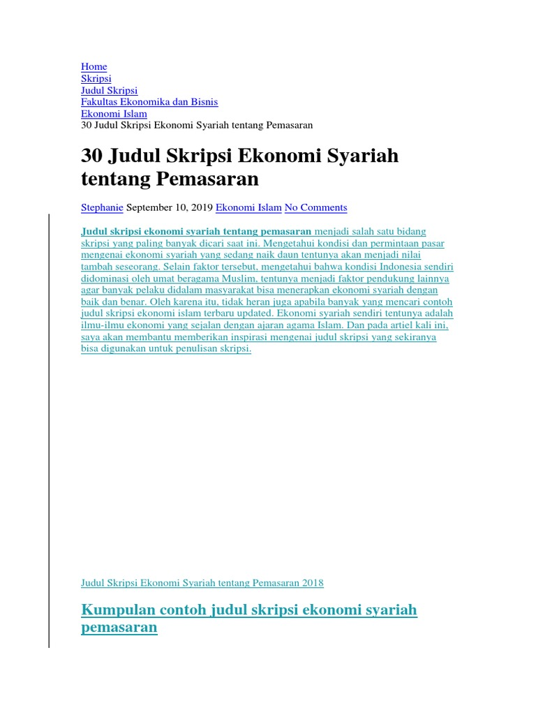 30 Judul Skripsi Ekonomi Syariah