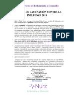 CAMPAÑA DE VACUNACIÓN CONTRA LA INFLUENZA 2019