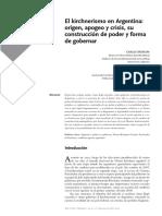 Moreira, Carlos - El kirchnerismo en Argentina, origen, apogeo y crisis