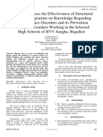 A Study to Assess the Effectiveness of Structured Teaching Programme on Knowledge Regarding Selected Voice Disorders and its Prevention Among the Teachers Working in the Selected High Schools of BVV Sangha, Bagalkot
