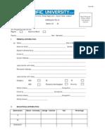 PU Dmission Form