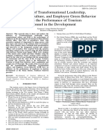 Influence of Transformational Leadership,  Organizational Culture, and Employee Green Behavior  (Egb) to the Performance of Tourism Personnel in the Development