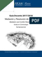 Guia Docente. Mediacion y Resolucion de Conflictos Murcia 2017-2018 Normalizada
