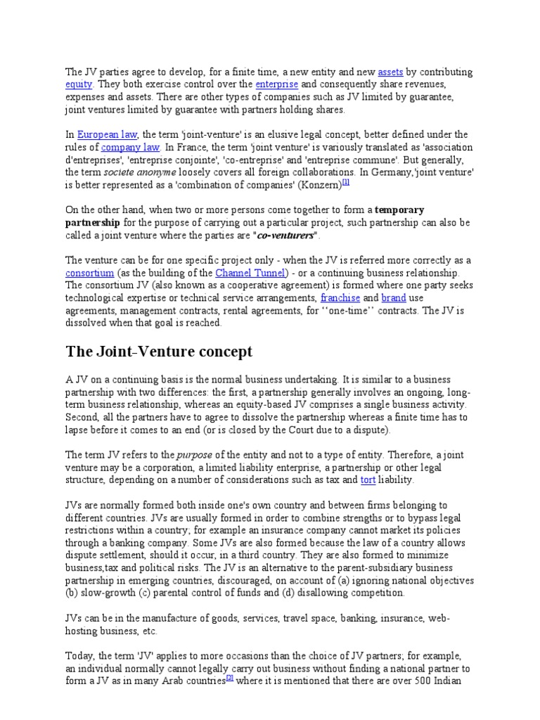 Joint Venture Joint Venture Partnership