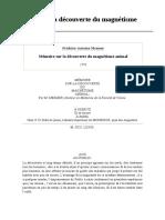 Mémoire sur la découverte du magnétisme animal - Frédéric-Antoine Mesmer