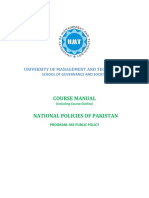 COURSE OUTLINE - NATIONAL POLICIES OF PAKISTAN