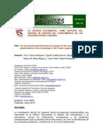 La gestión documental como soporte del sistema de gestión del conocimiento en las organizaciones cubanas.