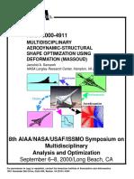 Multidisciplinary aerodynamics-structural shape optimization using deformation