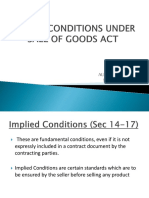 IMPLIED CONDITIONS UNDER SALE OF GOODS ACT