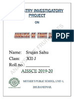 "CLASS 12 CBSE INVESTIGATORY PROJECT - CHEMISTRY INVESTIGATORY PROJECT ON ""ANALYSIS OF FRUIT JUICES"""