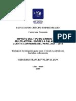IMPACTO DEL TIPO DE CAMBIO REAL MULTILATERAL SOBRE LA BALANZA EN CUENTA CORRIENTE DEL PERÚ, 2004 – 2018