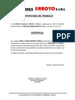 CERTIFICADO DE TRABAJO DECORACIONES