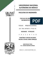 Cuevas, J. y Fuentes, E. (2011), Cálculo de reservas en yacimientos de gas . México, D.F. Ciudad universitaria.