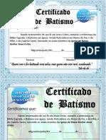 CERTIFICADO DE BATISMO DE MIGRANTINÓPOLIS