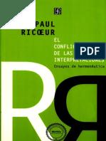 Ricoeur, Paul. El conflicto de las interpretaciones. Ensayos de hermeneutica [2003]
