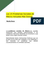 Los 15 Problemas Sociales de México Actuales Más Graves