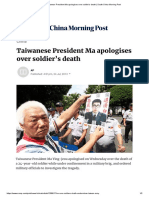 Taiwanese President Ma apologises over soldier's death _ South China Morning Post
