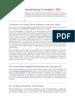 Deutschland - Berufsunfähigkeitsversicherung Im Vergleich 2020