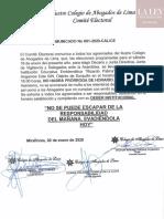 CAL Comité Electoral - Comunicado 001-2020-CAL/CE