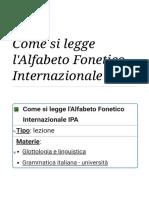 Come si legge l'Alfabeto Fonetico Internazionale IPA - Wikiversità