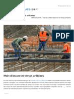 Main d'œuvre et temps unitaires - Méthodes BTP