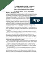 Norma Oficial Mexicana NOM-010-SSA2-2018, Para la prevención y el control de la infección por virus de la inmunodeficiencia humana
