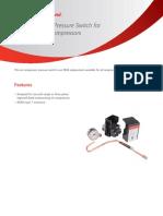 Air Compressor Pressure Switch for Reciprocating Compressors