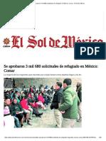 Se aprobaron 3 mil 680 solicitudes de refugiado en México