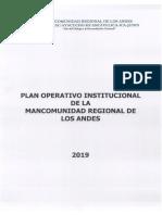 Plan Operativo Institucional de la Mancomunidad Regional de los Anes 2019