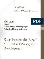 Lecture notes on Developmental Reading Enhancing Skills
