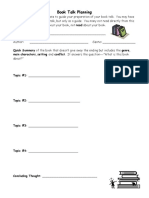 Book Talk Template & Directions