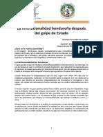 La Institucionalidad hondureña después del golpe de Estado - Julio 2010
