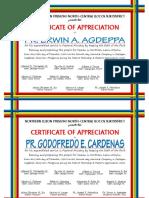 Certificate of Pastor's Appreciation