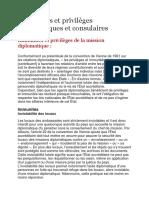 Immunités et privilèges diplomatiques et consulaires