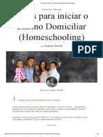 Dicas para iniciar o Ensino Domiciliar (Homeschooling)
