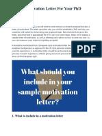 Sample Motivation Letter For Your PhD Application