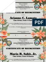 Certificate for outstanding teachers
