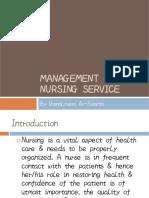 Management of Nursing Service