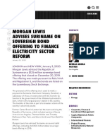 MORGAN LEWIS ADVISES SURINAME ON SOVEREIGN BOND OFFERING TO FINANCE ELECTRICITY SECTOR REFORM
