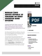 MORGAN LEWIS ADVISES REPUBLIC OF SURINAME ON DEBUT SOVEREIGN BOND OFFERING