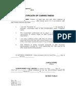 Affidavit of Correctness of Entries